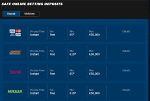 10bet offers variety of payment methods